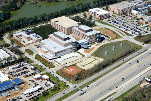 ariel view of Texas Children's Hospital in The Woodlands, TX