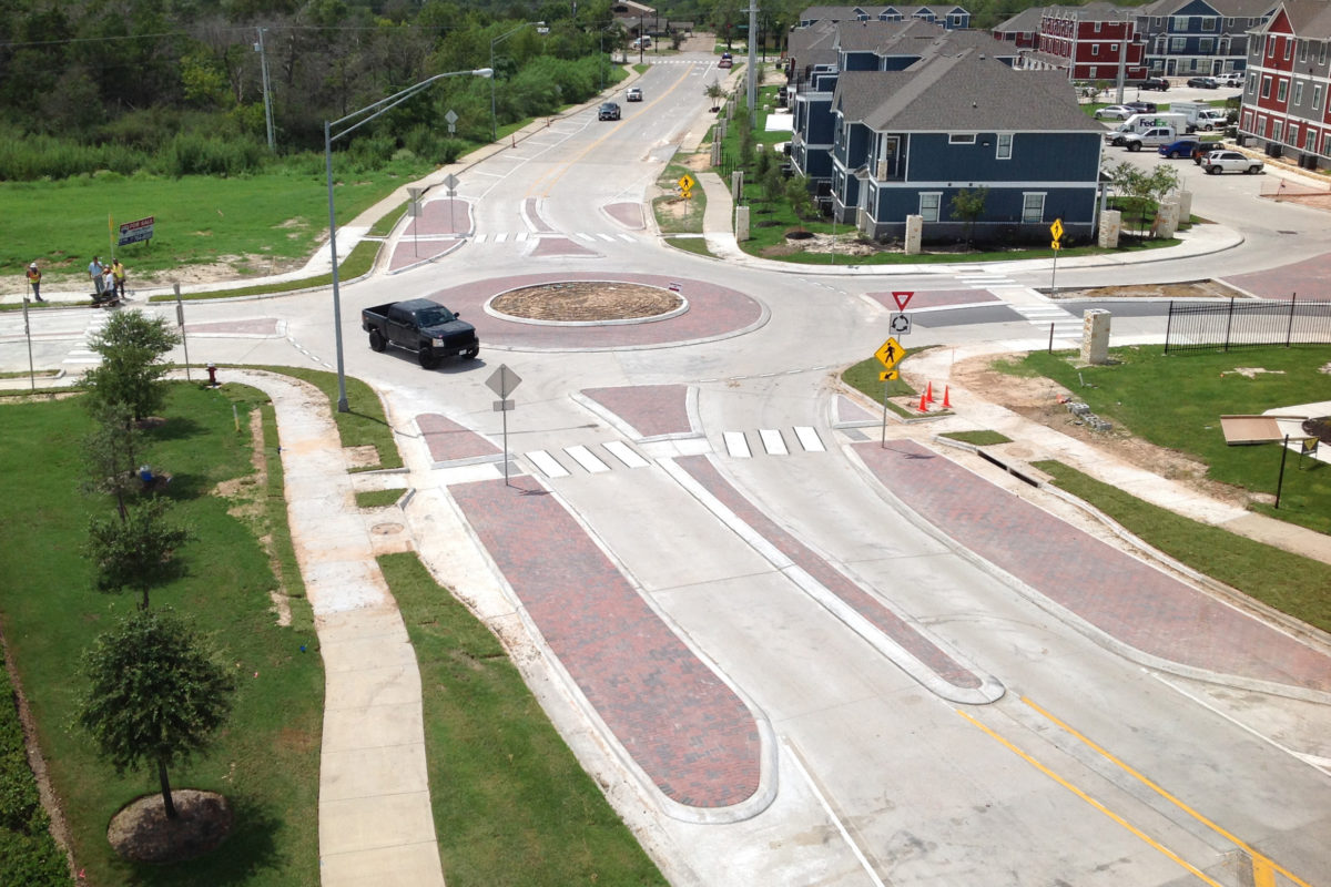 roundabout at Nash and Broadmoor in Bryan, TX
