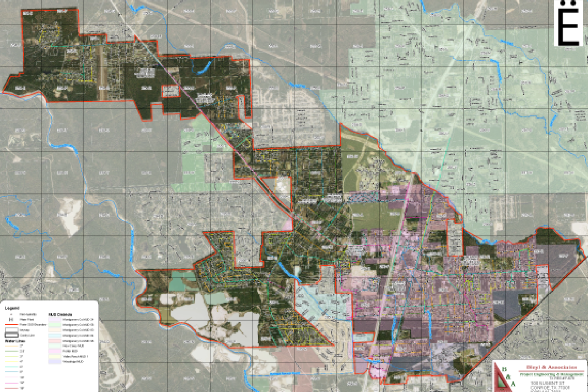 shaded utility district map